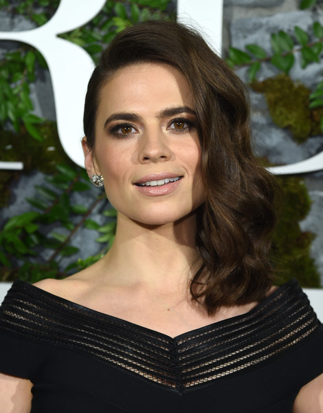 Hayley Atwell Side Swept Curls [howards end,hair,face,hairstyle,eyebrow,beauty,lip,brown hair,smile,shoulder,long hair,hayley atwell,new york,whitby hotel,starz,red carpet premiere screening event]