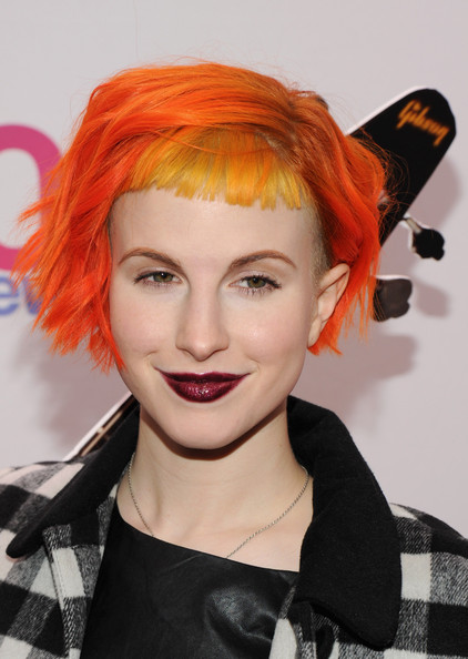 Hayley Williams Layered Razor Cut [hair,orange,red hair,hairstyle,hair coloring,red,wig,fashion,lip,fashion accessory,hayley williams,paramore,press room,new york city,madison square garden,z100,aeropostale,jingle ball,jingle ball 2013]