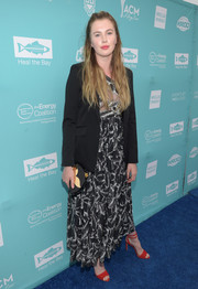 Ireland Baldwin splashed on some color with a pair of strappy scarlet sandals by Loeffler Randall.