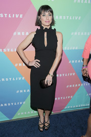 Constance Zimmer went ultra girly in a Shoshanna LBD with a keyhole cutout and ruffle detailing for the launch of HearstLive.