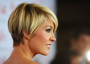 Jenna Elfman wore her adorable 'do super-sleek and straight with lengthy side-swept bangs at the Heart Truth's 2011 Red Dress Collection Fashion Show.