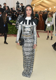 Jennifer Connelly went ultra modern in a mixed-pattern column dress by Louis Vuitton at the 2018 Met Gala.