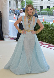 Katharine McPhee looked absolutely heavenly in an embroidered, illusion-panel ball gown by Georges Chakra Couture at the 2018 Met Gala.
