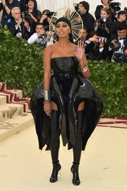 Solange Knowles showed off her unique style with this sculpted black PVC dress by Iris van Herpen Couture at the 2018 Met Gala.