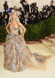 Ariana Grande was a vision in a Michelangelo-inspired corset gown by Vera Wang at the 2018 Met Gala.