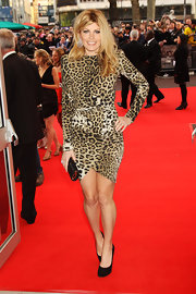 Meredith Ostrom looked ready for action in her leopard print dress. She teamed her exotic dress with a pair of black pumps.