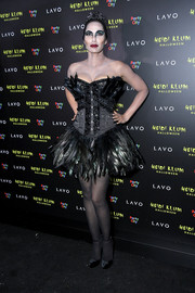 Padma Lakshmi came as the Black Swan in a feathered tutu dress to Heidi Klum's 19th annual Halloween party.