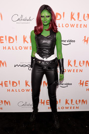 Taylor Hill rocked a black leather crop-top when she attended Heidi Klum's Halloween party as Gamora.