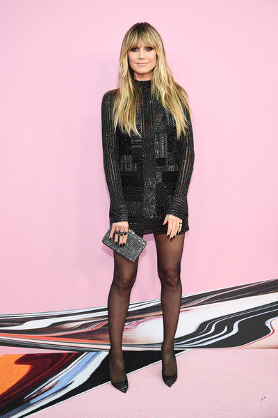 Heidi Klum Studded Heels [clothing,fashion,tights,fashion model,leg,thigh,blond,pink,stocking,human leg,arrivals,heidi klum,cfda fashion awards,brooklyn museum of art,new york city]