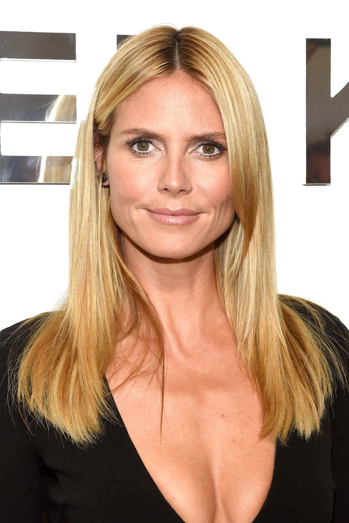 Heidi Klum Long Straight Cut Heidi Klum Looks Stylebistro