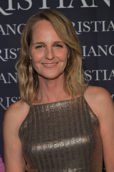 Helen Hunt Medium Wavy Cut [dresses to dream about,book,book,hair,hairstyle,premiere,beauty,blond,shoulder,long hair,layered hair,brown hair,cocktail dress,christian siriano,helen hunt,los angeles,chateau marmont,christian siriano celebrates the launch of his,celebration,launch]