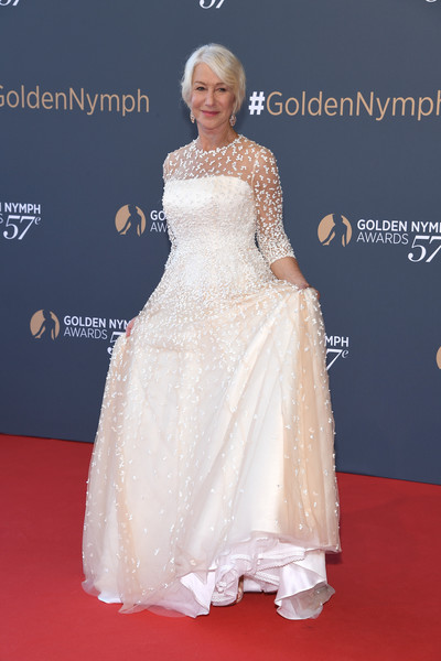 Helen Mirren Embroidered Dress