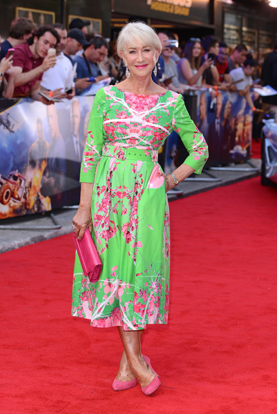 Helen Mirren Print Dress [fast furious: hobbs shaw,fast and furious,clothing,red carpet,flooring,carpet,dress,fashion,premiere,pink,event,fashion design,red carpet arrivals,shaw,hobbs,helen mirren,england,london,special screening,the curzon mayfair]