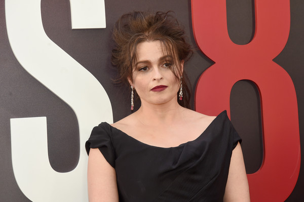 Helena Bonham Carter Loose Ponytail [face,hair,red,beauty,lady,hairstyle,lip,fashion,shoulder,model,helena bonham carter,world premiere,oceans 8,new york city,alice tully hall]