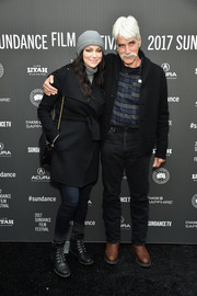 Laura Prepon teamed black Frye boots with a coat and jeans for the Sundance premiere of 'The Hero.'