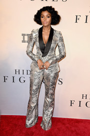 Janelle Monae suited up in this printed, metallic jacket and pants ensemble by Prabal Gurung for the New York special screening of 'Hidden Figures.'