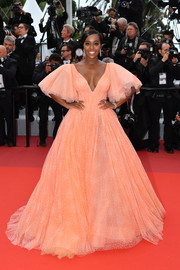 Aja Naomi King channeled her inner princess in a peach Zac Posen ballgown at the 2019 Cannes Film Festival screening of 'A Hidden Life.'
