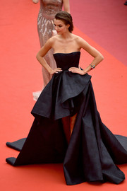 Josephine Skriver hit the Cannes red carpet wearing a strapless black gown by Ali Younes Couture at the premiere of 'A Hidden Life.'