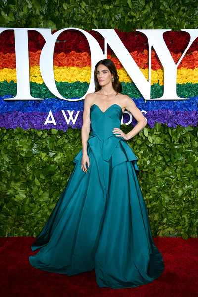 Hilary Rhoda Strapless Dress [red carpet,dress,clothing,gown,carpet,red carpet,cobalt blue,green,strapless dress,formal wear,a-line,hilary rhoda,tony awards,new york city,radio city music hall,annual tony awards]