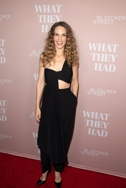 Hilary Swank Slacks [what they had,clothing,dress,red carpet,carpet,shoulder,premiere,fashion,hairstyle,little black dress,long hair,arrivals,hilary swank,california,ipic westwood,bleeker street presents los angeles special screening]