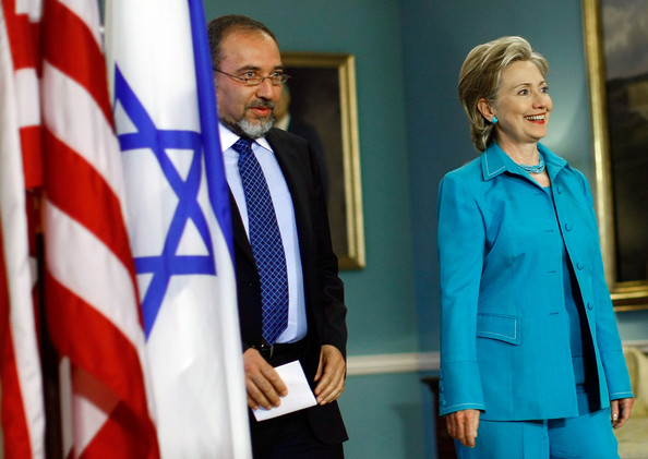 Hillary Clinton Clay Beaded Necklace [clinton meets,suit,official,formal wear,event,tie,electric blue,blazer,gesture,flag,uniform,hillary clinton,minister of foreign affairs,avigdor lieberman,deputy pm,minister of foreign affairs,r,israeli,u.s.,press conference]