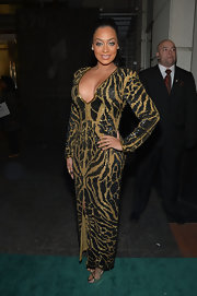 La La Anthony showed plenty of cleavage in a low-cut beaded evening dress during the Hip Hop Inaugural Ball.