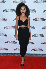 Logan Browning completed her all-black look with a pair of pumps.