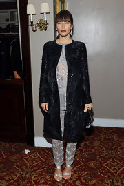 Jessica Biel revved up the shine factor in this shimmering sequined coat.