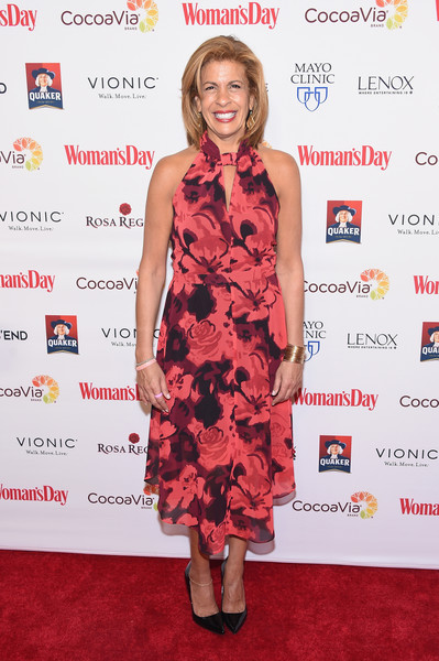 Hoda Kotb Print Dress [clothing,dress,cocktail dress,red,carpet,red carpet,premiere,hairstyle,shoulder,fashion,womans day red dress awards,jazz,new york city,lincoln center,hoda kotb]