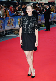 Rosamund Pike walked the 'What We Did on Our Holiday' red carpet wearing a black lace-bodice shirtdress by Erdem.