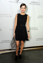 Camilla Belle kept it basic in a Shoshanna fit-and-flare LBD during the Q&A with Ann Curry event.