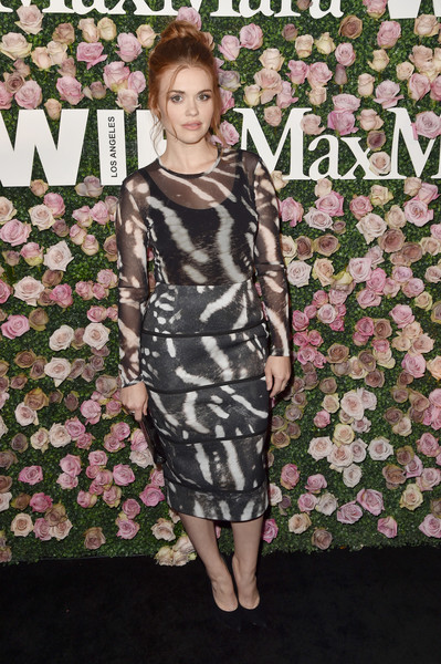 Holland Roden Sheer Top [max mara celebrates zoey deutch,the 2017 women in film max mara face of the future,holland roden,clothing,dress,shoulder,fashion,fashion model,hairstyle,pink,joint,cocktail dress,carpet,chateau marmont,california,los angeles,max mara]
