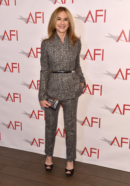 Holly Hunter Metallic Clutch [clothing,fashion,footwear,fashion show,fashion model,premiere,outerwear,carpet,street fashion,pantsuit,arrivals,holly hunter,los angeles,four seasons hotel,california,beverly hills,afi awards]