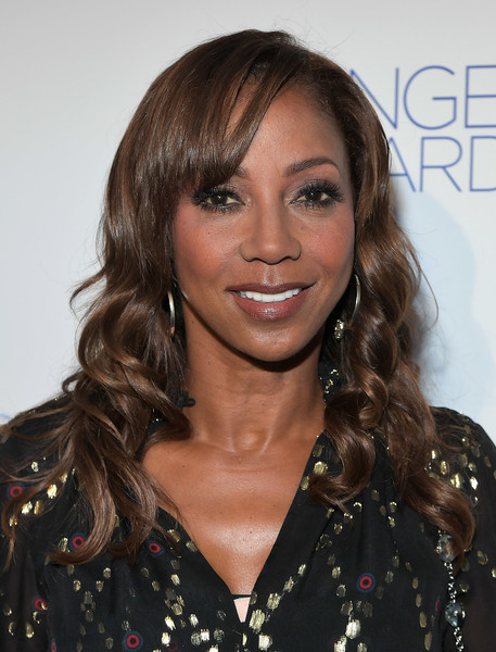Holly Robinson Peete Long Curls with Bangs [hair,face,hairstyle,eyebrow,brown hair,blond,long hair,beauty,chin,lip,holly robinson peete,angel awards,hair,brown hair,hair,hairstyle,hair coloring,hollywood,project angel food,2018 angel awards,holly robinson peete,long hair,hair coloring,layered hair,bangs,feathered hair,brown hair,celebrity,dubbing,02pd]