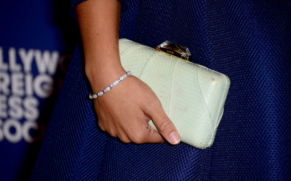 More Pics of Gina Rodriguez Pumps (1 of 15) - Gina Rodriguez Lookbook - StyleBistro [cobalt blue,electric blue,finger,hand,fashion,fashion accessory,ring,jewellery,jeans,nail,arrivals,gina rodriguez,purse detail,beverly hills,california,the beverly hilton hotel,hollywood foreign press association,grants banquet,hollywood foreign press associations grants banquet]