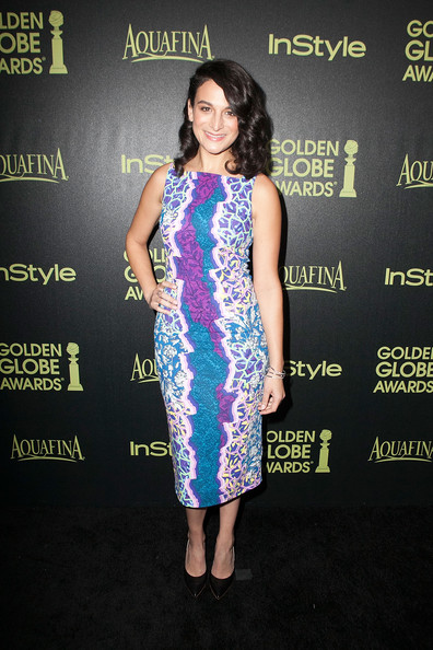 Jenny Slate donned a sleeveless midi dress that featured an electrifying mix of colors during the Golden Globe Award season celebration.