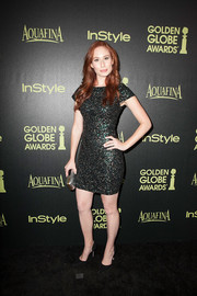 Jessica Blair Herman glittered in a fully sequined mini during the Golden Globe Award season celebration.