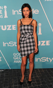 Julia Jones dressed up a plaid frock with black patent platforms.