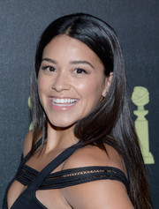 Gina Rodriguez went for a soft pink glossy lip for a sweet look