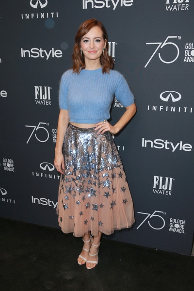 Ahna O'Reilly completed her cute ensemble with white triple-strap heels.