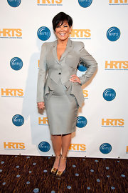 Kris Jenner wore two tone wedges with golden ankle ties at the Unscripted Hitmakers luncheon.