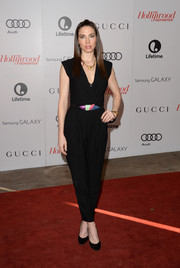 Whitney Cummings opted for a casual look with this black jumpsuit when she attended the Women in Entertainment Breakfast.
