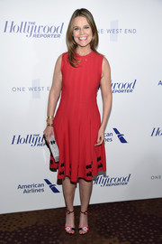 Savannah Guthrie attended the Hollywood Reporter's 35 Most Powerful People in Media wearing a sleeveless red fit-and-flare dress by Alexander McQueen.