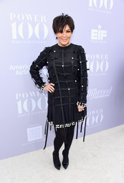 Kris Jenner turned heads at the Women in Entertainment Breakfast in an edgy-chic pearl-embellished LBD by Anna K. The lattice overlay added extra zing.