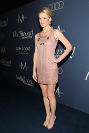 Missi Pyle wore this mauve shift dress with Art Deco beading to the Oscar nominees luncheon in Hollywood.