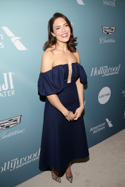 Mandy Moore turned heads in a navy off-the-shoulder dress by Gabriela Hearst that she paired with Kendra Scott  Amaya Gold Cuffs at the Hollywood Reporter's Power 100 Women in Entertainment event.