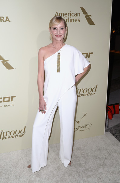 Anne Heche was relaxed yet stylish in a white one-shoulder jumpsuit by Adrianna Papell at the Hollywood Reporter and SAG-AFTRA Emmy nominees night.