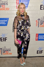 Diane Kruger stepped out in a sheer-panel floral jumpsuit by Erdem for the Hollywood Stands Up to Cancer event.