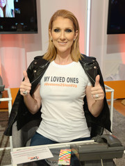 Celine Dion was biker-chic in a black leather jacket at the Stand Up to Cancer event.