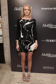 Lindsay Ellingson showed off her supermodel figure in a body-con black-and-white print dress at the 35 Most Powerful People in Media event.